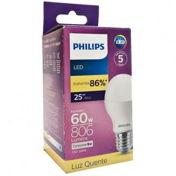 Lampada Led 60w Luz Quente 8w Philips