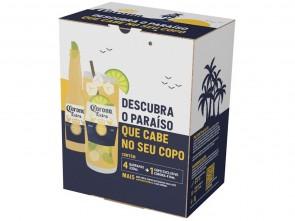 Cerveja Corona Extra 330ml C/4 + Copo
