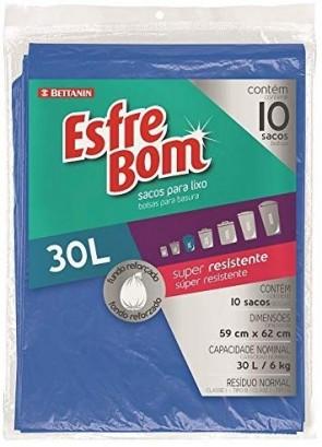 Saco de Lixo EsfreBom 30L c/10 unidades Azul
