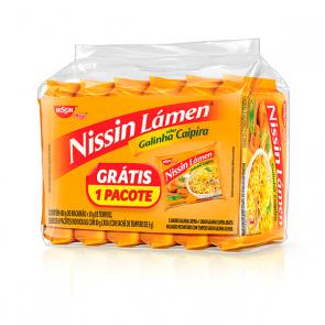 Conjunto Macarrão Lámen Nissin Galinha Caipira 6un