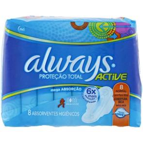 Absorvente Active Seca Com Abas Always c/8