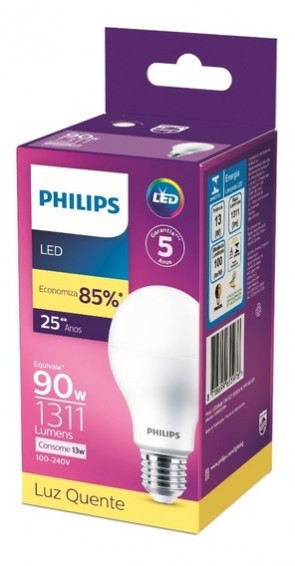 Lampada Led 90w  1311Lumens Luz Quente Philips