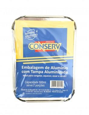 Embalagem Alumínio com Tampa c/4 un. 500ml Conserv