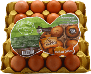 Ovos Caipira Naturovos com 20 unidades