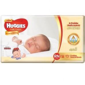 Fraldas Huggies Soft Touch Primeiro 100 Dias RN c/38