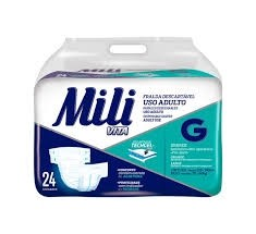 Fraldas uso adulto Mili Vita tamanho G c/ 24 unidades