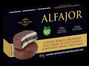 Alfajor Branco C/ Chocolate S/Glúten S/ Lactose Vegano S.Divino 80g