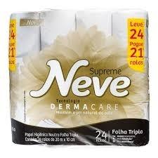 Papel Higiênico Neve Supreme Dermacare Folha Tripla Leve 24 Pague 21