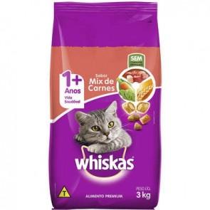 Alimento p/ Gatos Wiskas Mix de Carnes 3kg