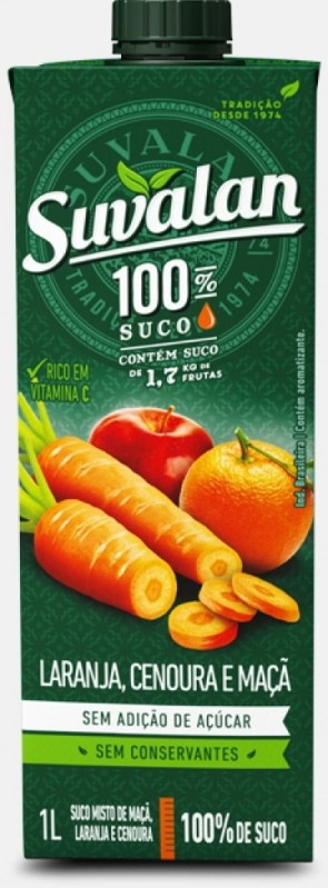Suco 100% Suco Laranja, Cenoura e Maçã Suvalan 1L
