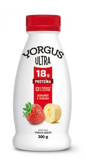 Iogurte Grego Yorgus Ultra 0%Lactose Morango e Banana 300g